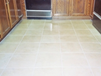 grout and tile in ceramic kitchen looks brand new