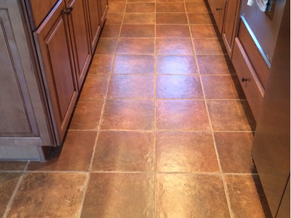 Dirty Mesa Arizona Ceramic Tile Kitchen Floor Needs Cleaning