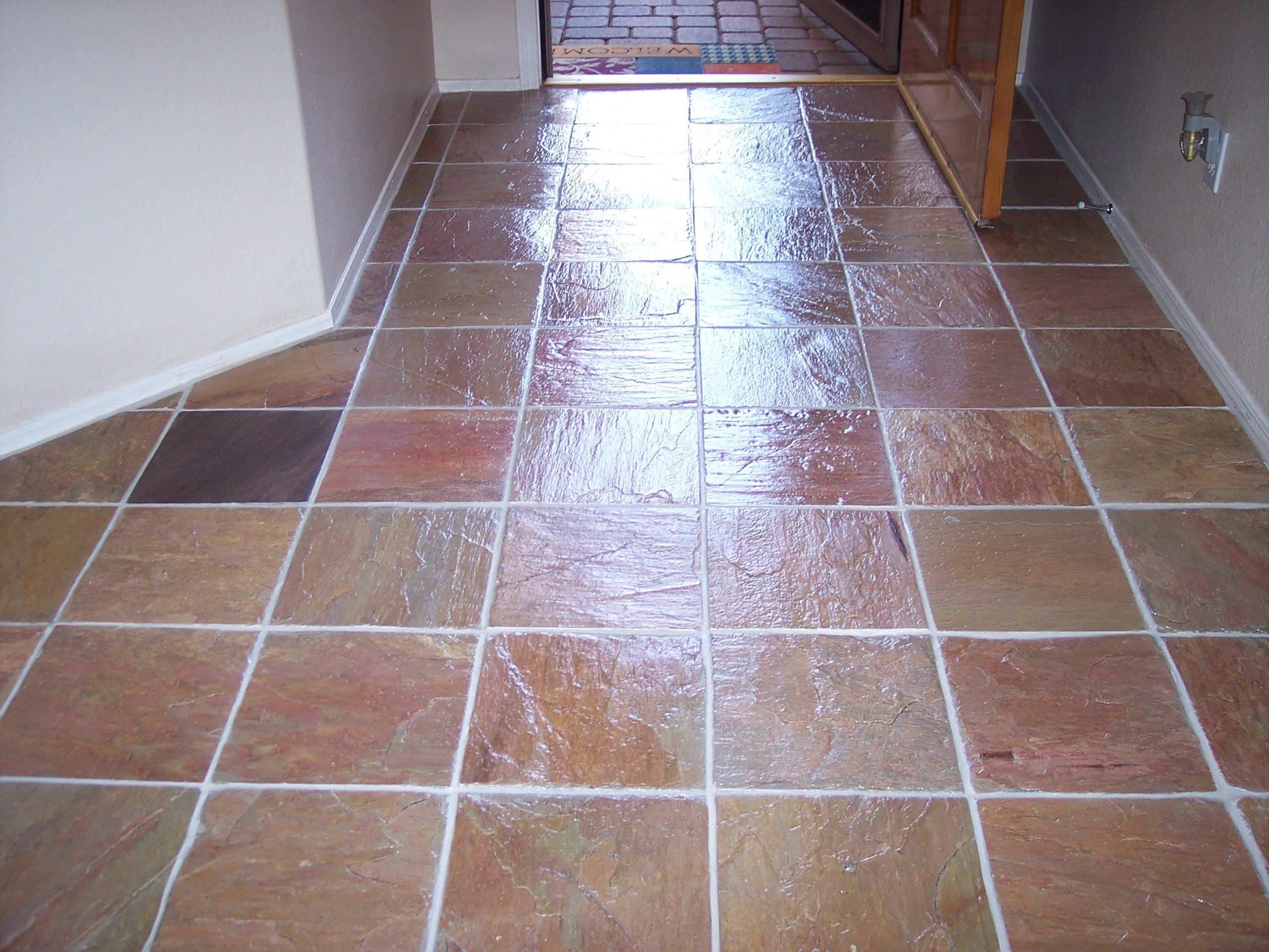 Slate stone tile cleaning desert tile grout care stone floor after being cleaned sealed and restored by desert tile and grout care dailygadgetfo Choice Image