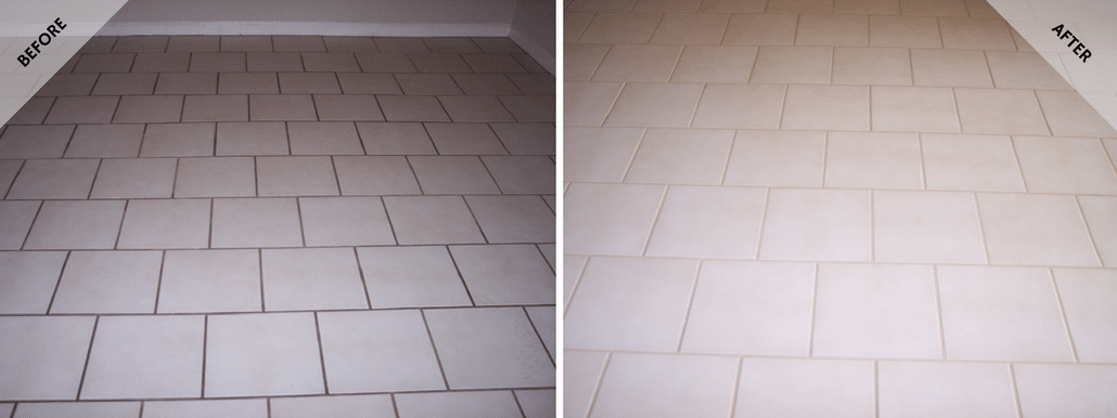 Recent picture of Phoenix ceramic grout cleaning by Desert Tile